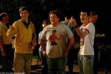 Michael Cera, Jonah Hill and Christopher Mintz-Plasse in &quot;Superbad.&quot;